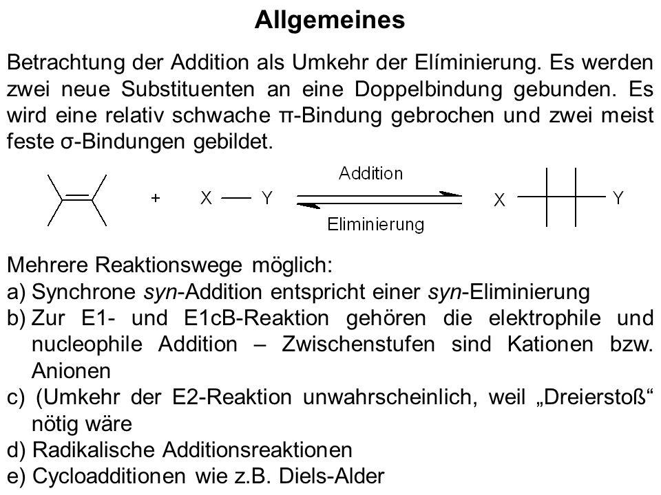 Allgemeines Betrachtung der Addition als Umkehr der Elíminierung. Es werden zwei neue Substituenten an eine Doppelbindung gebunden. Es wird eine relat