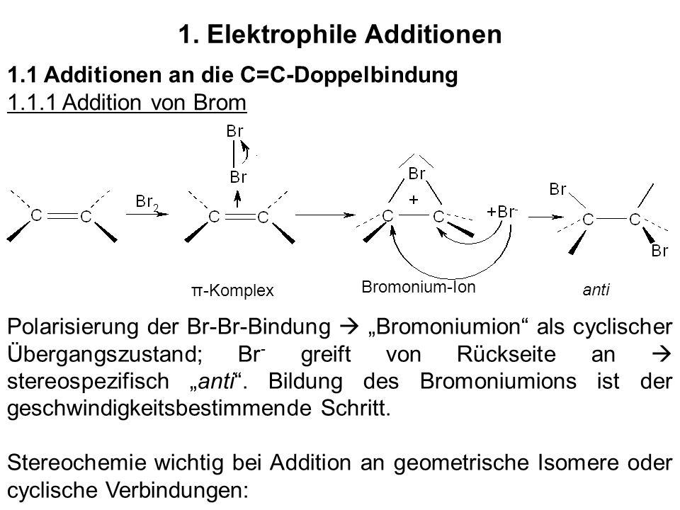 1. Elektrophile Additionen 1.1 Additionen an die C=C-Doppelbindung 1.1.1 Addition von Brom Polarisierung der Br-Br-Bindung Bromoniumion als cyclischer