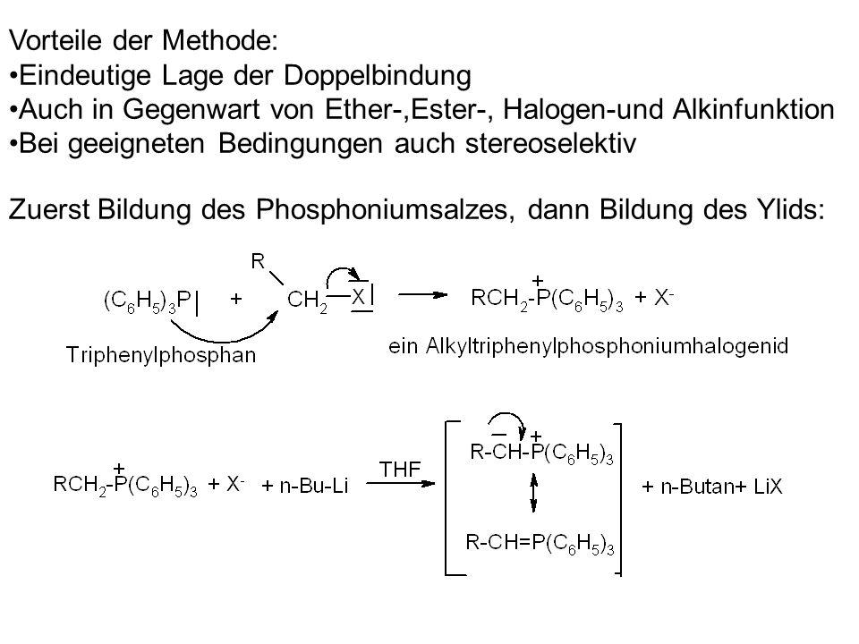 Vorteile der Methode: Eindeutige Lage der Doppelbindung Auch in Gegenwart von Ether-,Ester-, Halogen-und Alkinfunktion Bei geeigneten Bedingungen auch