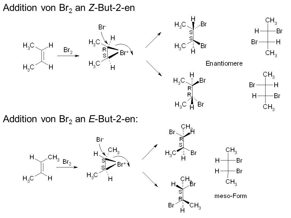 b) Bei der Hydrierung an einem vergifteten Katalysator (Pd mit Pb(II)salzen versetzt), dem so genannten Lindlar-Katalysator, wird nur 1 Äquivalent H 2 aufgenommen und es entsteht nach dem syn-Modus bevorzugt das entsprechende (Z)-Alken 2.4.2 Birch-Reduktion Alkine werden mit Na in NH 3 (l) zu (E)-Alkenen reduziert; es ist kein EtOH nötig, weil das Vinylanion basisch genug ist, um NH 3 zu deprotonieren und man keine externe Protonenquelle braucht.