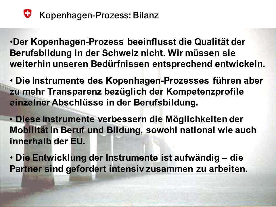 BBT, 25.Januar 2007 15 Kopenhagen-Prozess: Bilanz Der Kopenhagen-Prozess beeinflusst die Qualität der Berufsbildung in der Schweiz nicht. Wir müssen s