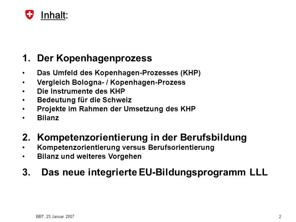 BBT, 25.Januar 2007 2 Inhalt: 1.Der Kopenhagenprozess Das Umfeld des Kopenhagen-Prozesses (KHP) Vergleich Bologna- / Kopenhagen-Prozess Die Instrument