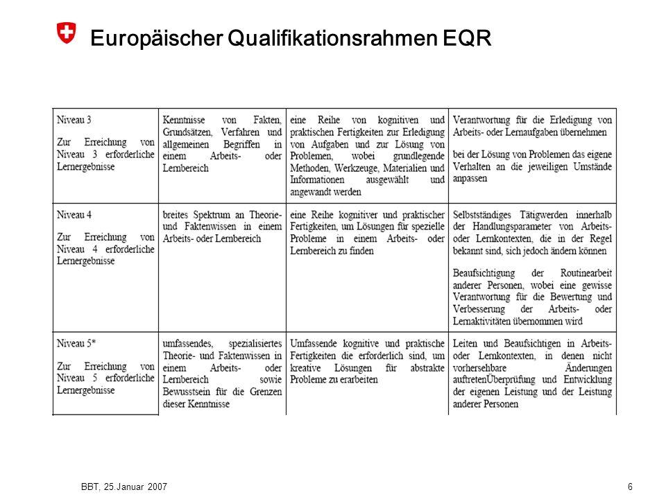 BBT, 25.Januar 2007 6 Europäischer Qualifikationsrahmen EQR