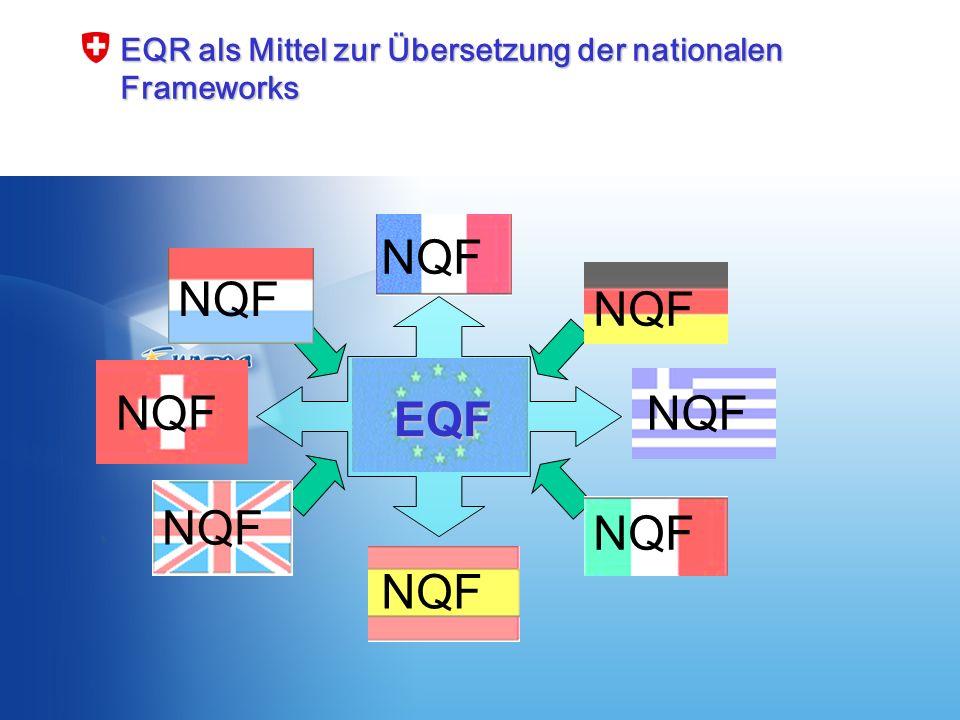 BBT, 25.Januar 2007 8 EQR als Mittel zur Übersetzung der nationalen Frameworks EQF NQF