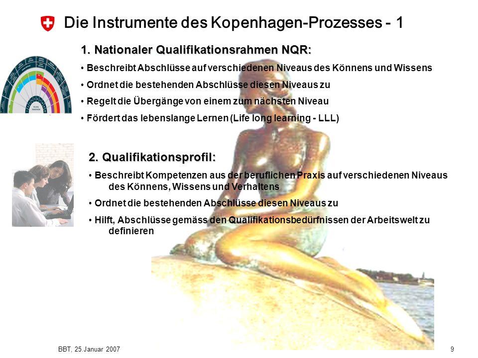 BBT, 25.Januar 2007 9 Die Instrumente des Kopenhagen-Prozesses - 1 1. Nationaler Qualifikationsrahmen NQR: Beschreibt Abschlüsse auf verschiedenen Niv