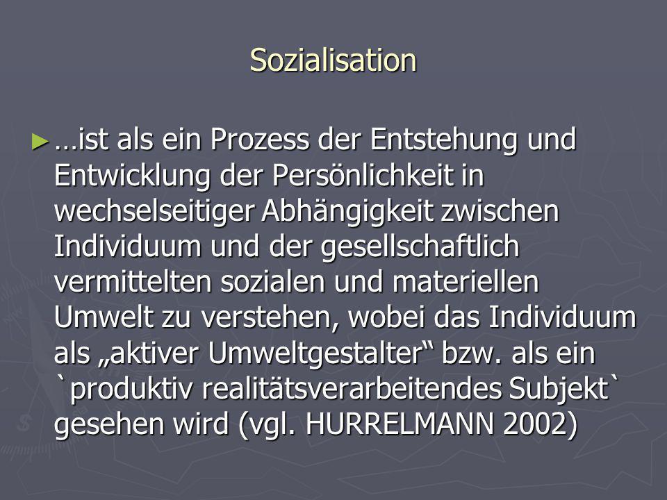 Sozialisation …ist als ein Prozess der Entstehung und Entwicklung der Persönlichkeit in wechselseitiger Abhängigkeit zwischen Individuum und der gesel