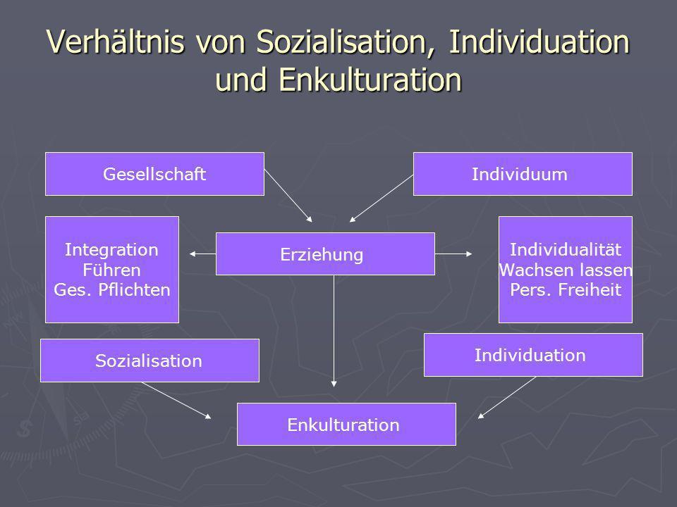 Verhältnis von Sozialisation, Individuation und Enkulturation GesellschaftIndividuum Erziehung Sozialisation Individuation Enkulturation Integration F