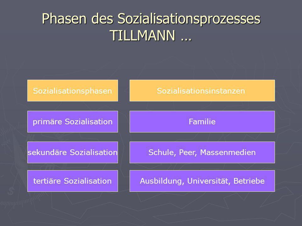 Phasen des Sozialisationsprozesses TILLMANN … tertiäre Sozialisation Sozialisationsphasen primäre Sozialisation sekundäre Sozialisation Ausbildung, Un