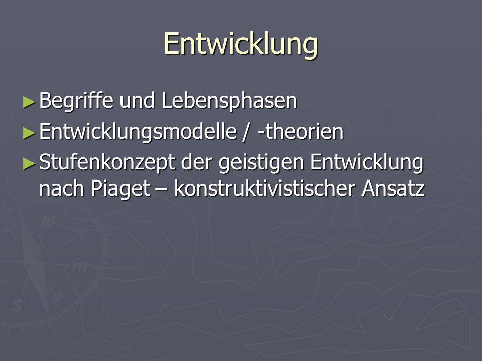 Entwicklung Begriffe und Lebensphasen Begriffe und Lebensphasen Entwicklungsmodelle / -theorien Entwicklungsmodelle / -theorien Stufenkonzept der geis