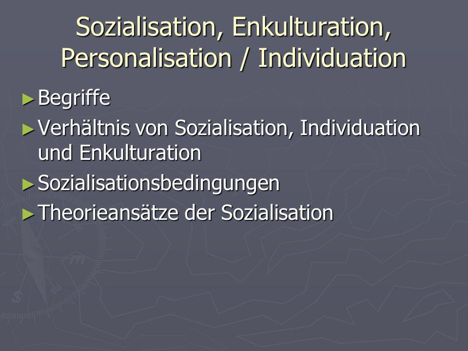 Sozialisation, Enkulturation, Personalisation / Individuation Begriffe Begriffe Verhältnis von Sozialisation, Individuation und Enkulturation Verhältn