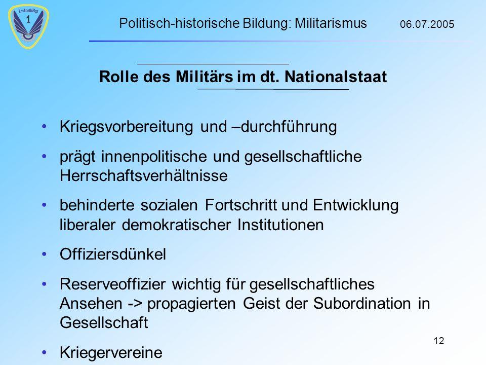 Politisch-historische Bildung: Militarismus 06.07.2005 12 Rolle des Militärs im dt.