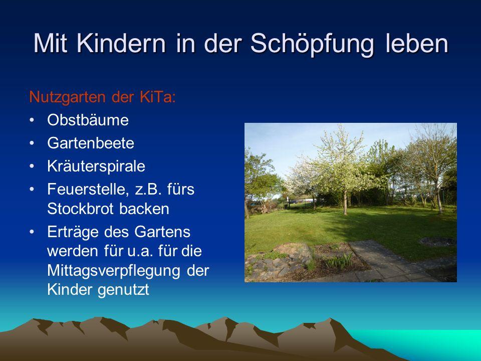 Mit Kindern in der Schöpfung leben Nutzgarten der KiTa: Obstbäume Gartenbeete Kräuterspirale Feuerstelle, z.B. fürs Stockbrot backen Erträge des Garte