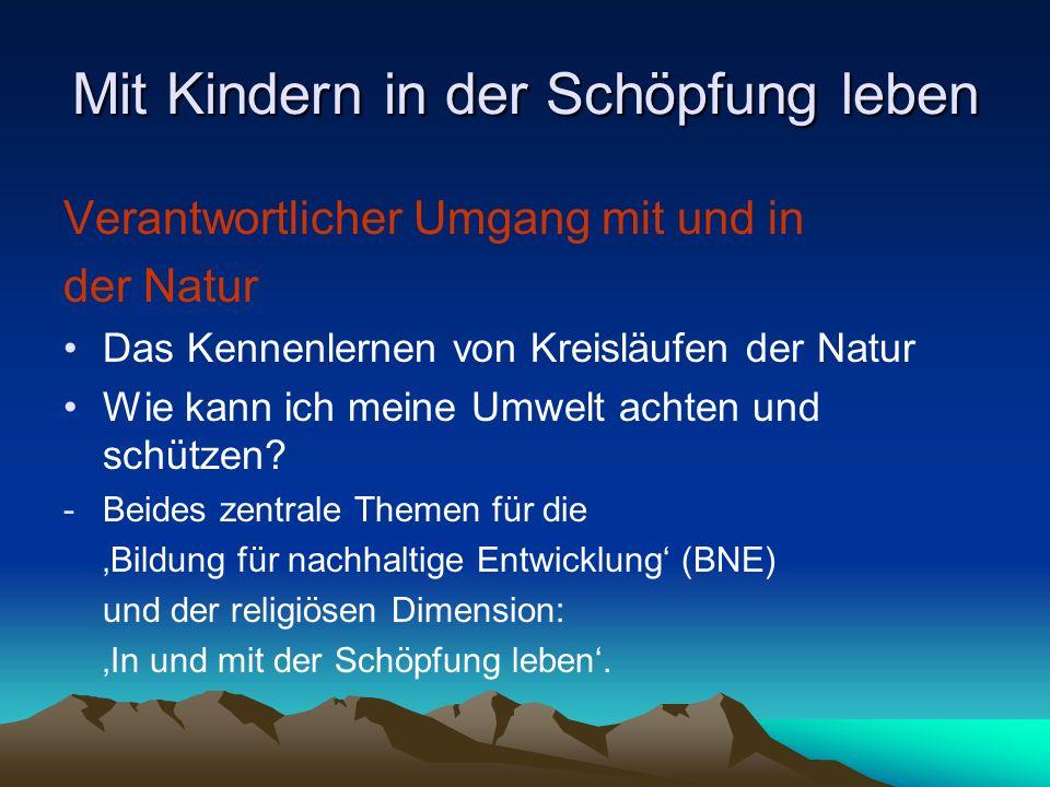 Mit Kindern in der Schöpfung leben Verantwortlicher Umgang mit und in der Natur Das Kennenlernen von Kreisläufen der Natur Wie kann ich meine Umwelt a