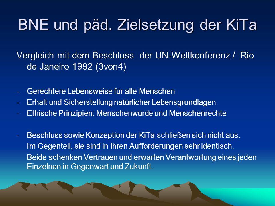 BNE und päd. Zielsetzung der KiTa Vergleich mit dem Beschluss der UN-Weltkonferenz / Rio de Janeiro 1992 (3von4) -Gerechtere Lebensweise für alle Mens