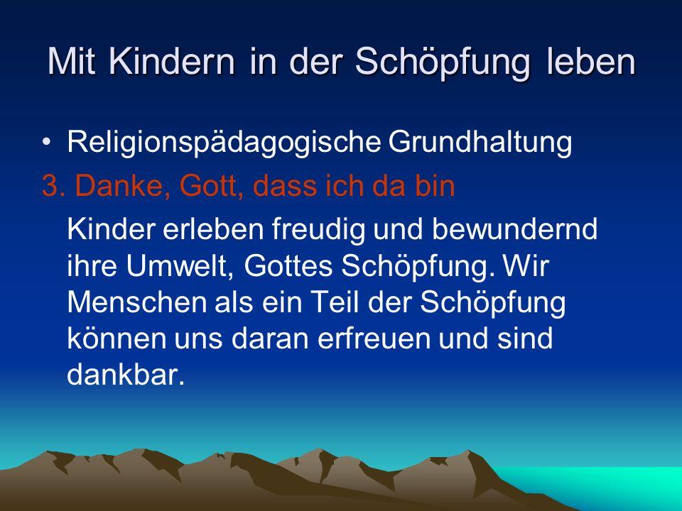 Mit Kindern in der Schöpfung leben Religionspädagogische Grundhaltung 3. Danke, Gott, dass ich da bin Kinder erleben freudig und bewundernd ihre Umwel