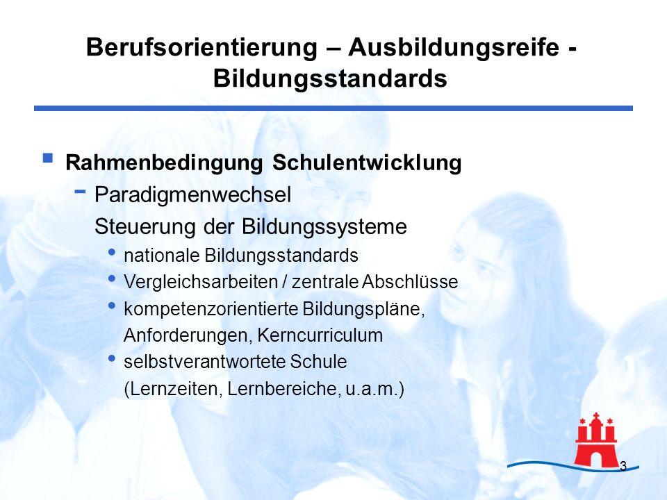 4 Rahmenbedingung: Berufswahl - keine Entscheidung für Lebensberuf - keine Stufenleiter - Chancenorientierung Rahmenbedingung: Berufsorientierung - keine Vorbereitung auf Auswahl - nicht begrenzt auf Stärken, Interessenermittlung Berufsbereiche, Anforderungsprofile Bewerbungstraining Berufsorientierung – Ausbildungsreife - Bildungsstandards