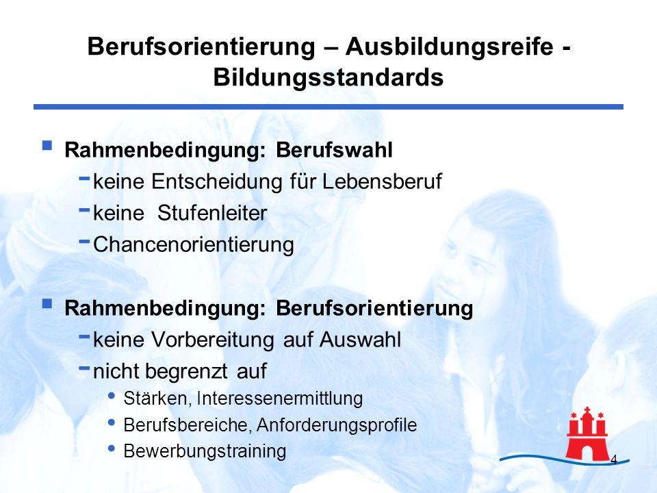 4 Rahmenbedingung: Berufswahl - keine Entscheidung für Lebensberuf - keine Stufenleiter - Chancenorientierung Rahmenbedingung: Berufsorientierung - ke