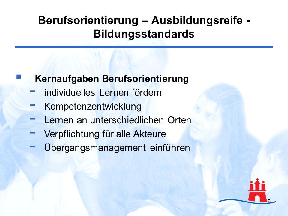 7 Ausbildungsreife - Kriterienkatalog zur Ausbildungsreife (2006) allgemeine Merkmale der Bildungs- und Arbeitsfähigkeit Mindestvoraussetzungen für den Einstieg in eine Ausbildung Entwicklung Berufsorientierung – Ausbildungsreife - Bildungsstandards