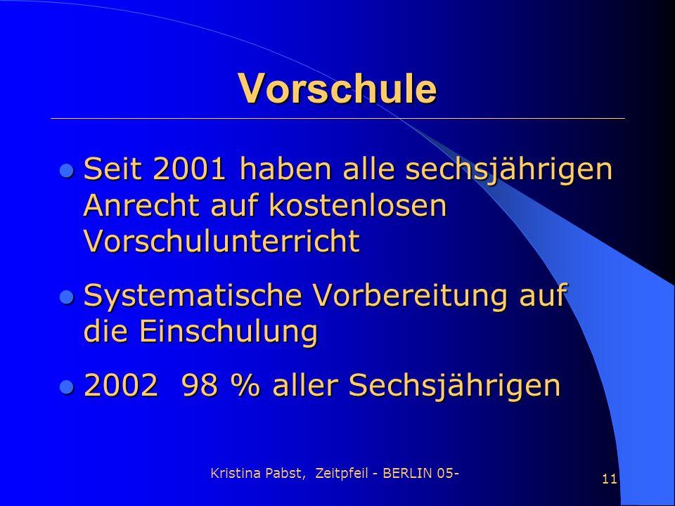 Kristina Pabst, Zeitpfeil - BERLIN 05- 11 Vorschule Seit 2001 haben alle sechsjährigen Anrecht auf kostenlosen Vorschulunterricht Seit 2001 haben alle