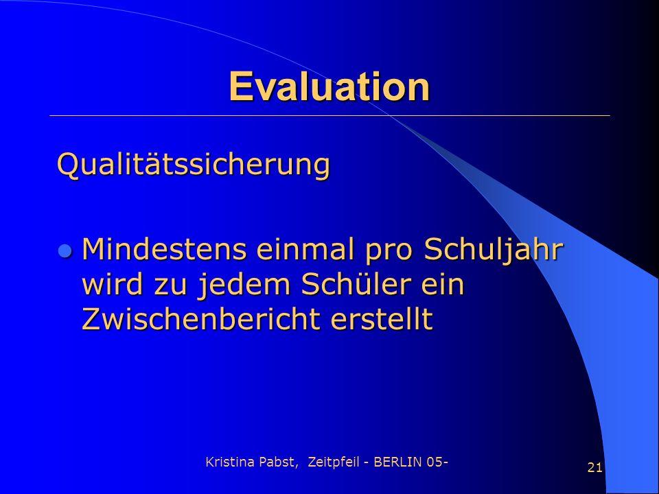 Kristina Pabst, Zeitpfeil - BERLIN 05- 21 Evaluation Qualitätssicherung Mindestens einmal pro Schuljahr wird zu jedem Schüler ein Zwischenbericht erst