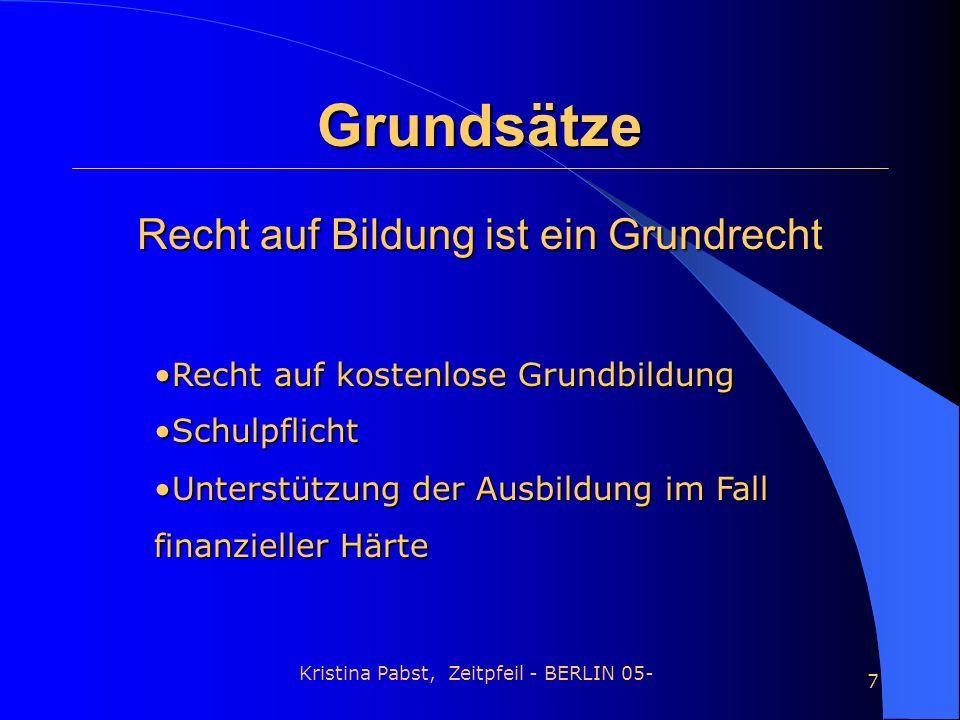 Kristina Pabst, Zeitpfeil - BERLIN 05- 7 Grundsätze Rechtauf Bildung ist ein Grundrecht Recht auf Bildung ist ein Grundrecht Recht auf kostenlose Grun