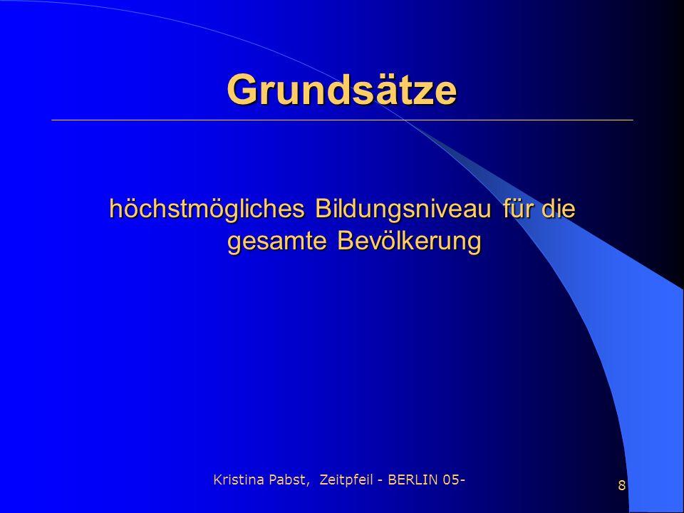 Kristina Pabst, Zeitpfeil - BERLIN 05- 8 Grundsätze höchstmögliches Bildungsniveau für die gesamte Bevölkerung