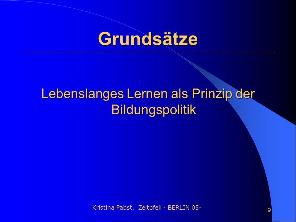 Kristina Pabst, Zeitpfeil - BERLIN 05- 9 Grundsätze Lebenslanges Lernen als Prinzip der Bildungspolitik