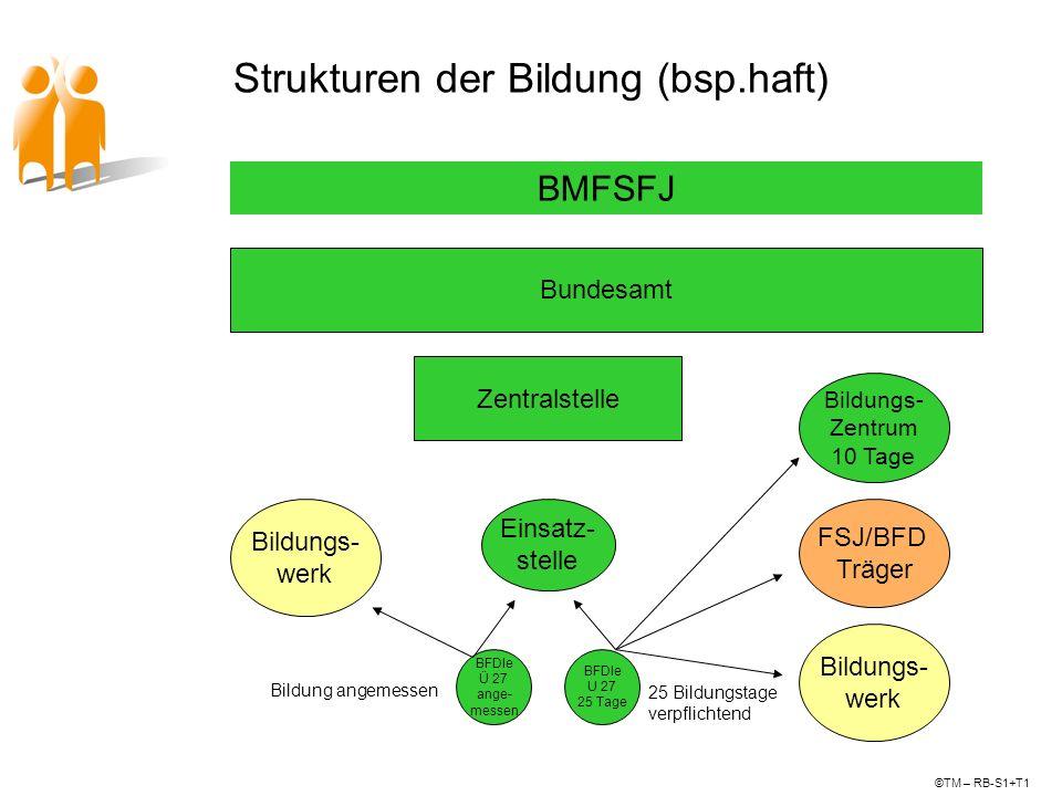 Strukturen der Bildung (bsp.haft) Bundesamt Zentralstelle BMFSFJ ©TM – RB-S1+T1 Einsatz- stelle BFDle Ü 27 ange- messen BFDle U 27 25 Tage Bildungs- Z