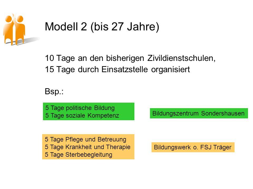 Modell 2 (bis 27 Jahre) 10 Tage an den bisherigen Zivildienstschulen, 15 Tage durch Einsatzstelle organisiert Bsp.: 5 Tage politische Bildung 5 Tage s