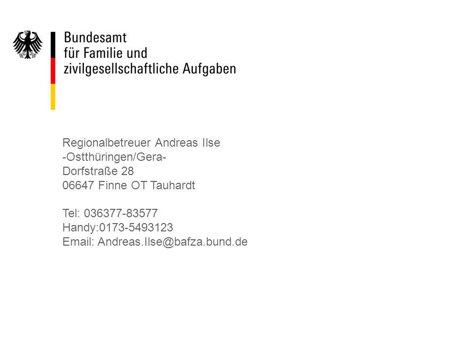 Regionalbetreuer Andreas Ilse -Ostthüringen/Gera- Dorfstraße 28 06647 Finne OT Tauhardt Tel: 036377-83577 Handy:0173-5493123 Email: Andreas.Ilse@bafza