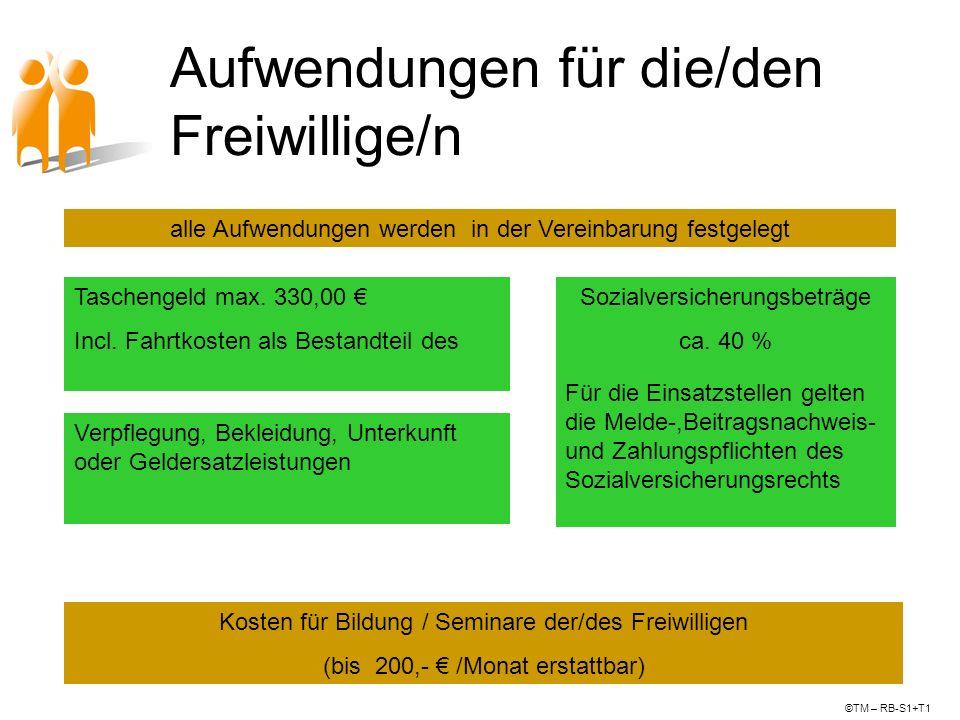 Aufwendungen für die/den Freiwillige/n Taschengeld max. 330,00 Incl. Fahrtkosten als Bestandteil des Taschengeldes Verpflegung, Bekleidung, Unterkunft
