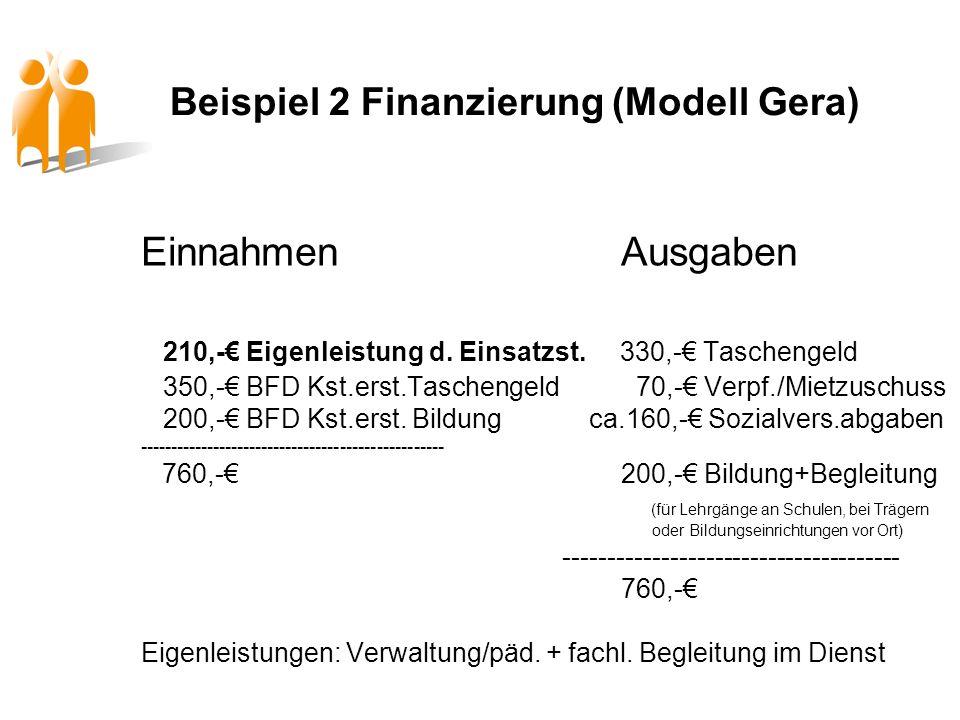Beispiel 2 Finanzierung (Modell Gera) EinnahmenAusgaben 210,- Eigenleistung d. Einsatzst. 330,- Taschengeld 350,- BFD Kst.erst.Taschengeld 70,- Verpf.