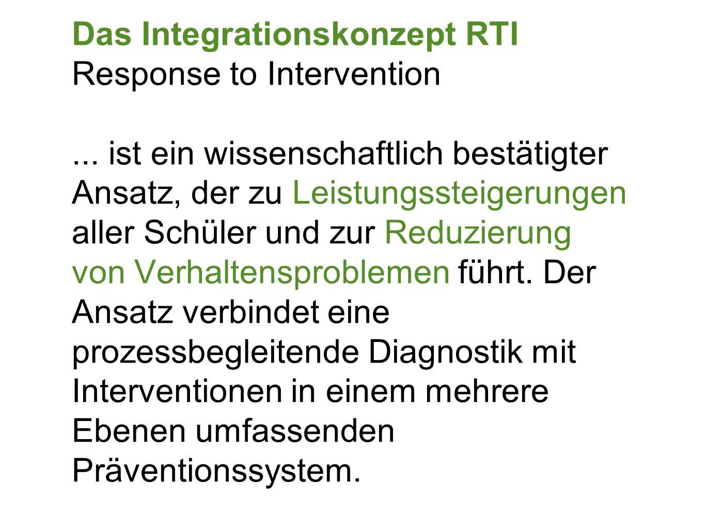 Das Integrationskonzept RTI Response to Intervention... ist ein wissenschaftlich bestätigter Ansatz, der zu Leistungssteigerungen aller Schüler und zu