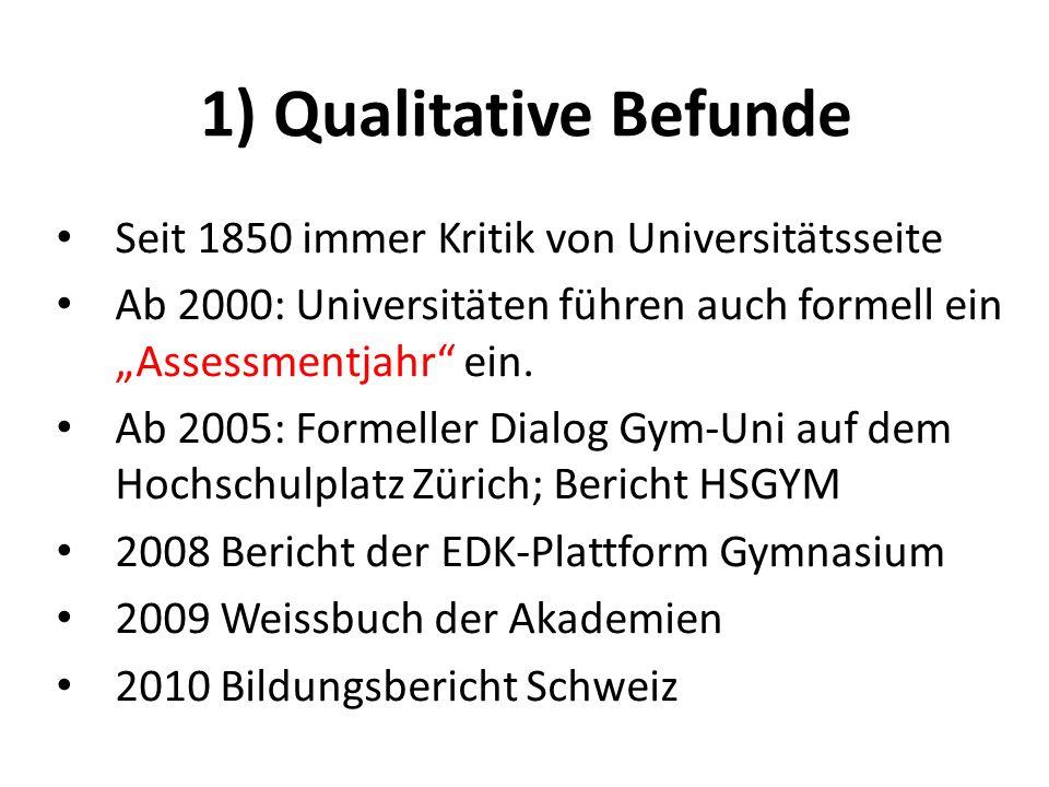 1) Qualitative Befunde Seit 1850 immer Kritik von Universitätsseite Ab 2000: Universitäten führen auch formell ein Assessmentjahr ein. Ab 2005: Formel