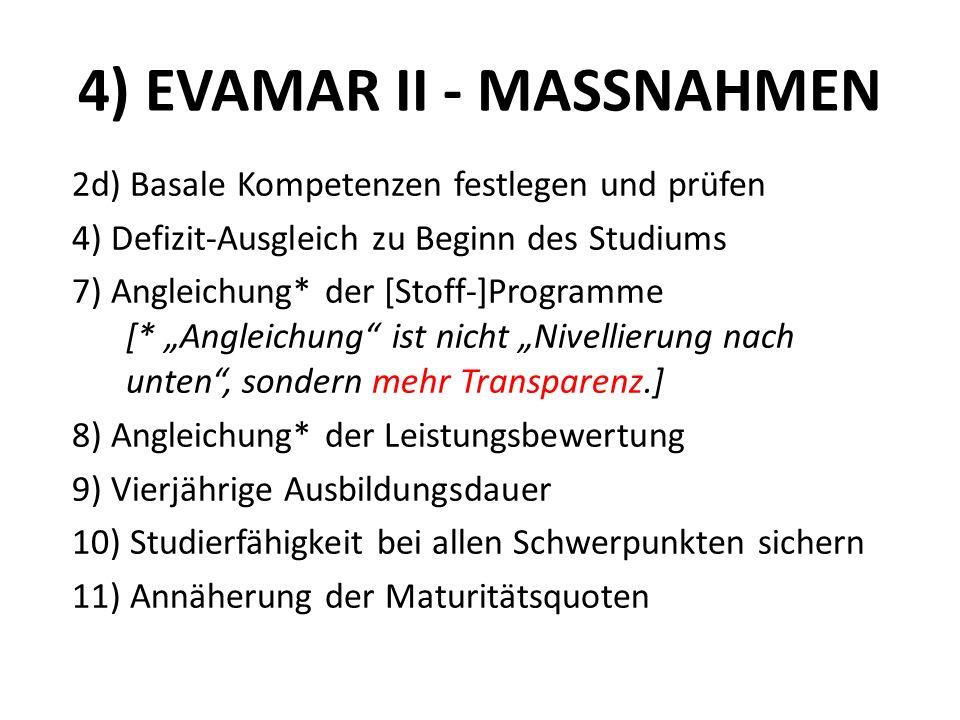 4) EVAMAR II - MASSNAHMEN 2d) Basale Kompetenzen festlegen und prüfen 4) Defizit-Ausgleich zu Beginn des Studiums 7) Angleichung* der [Stoff-]Programm