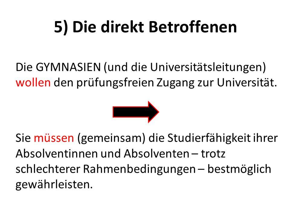 5) Die direkt Betroffenen Die GYMNASIEN (und die Universitätsleitungen) wollen den prüfungsfreien Zugang zur Universität. Sie müssen (gemeinsam) die S