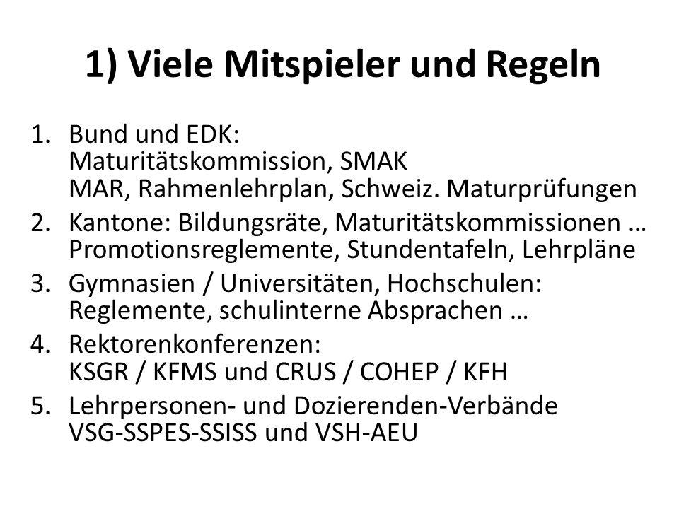 1) Viele Mitspieler und Regeln 1.Bund und EDK: Maturitätskommission, SMAK MAR, Rahmenlehrplan, Schweiz. Maturprüfungen 2.Kantone: Bildungsräte, Maturi