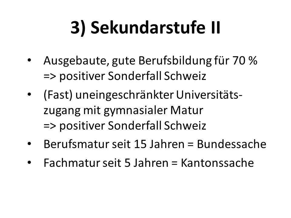 3) Sekundarstufe II Ausgebaute, gute Berufsbildung für 70 % => positiver Sonderfall Schweiz (Fast) uneingeschränkter Universitäts- zugang mit gymnasia