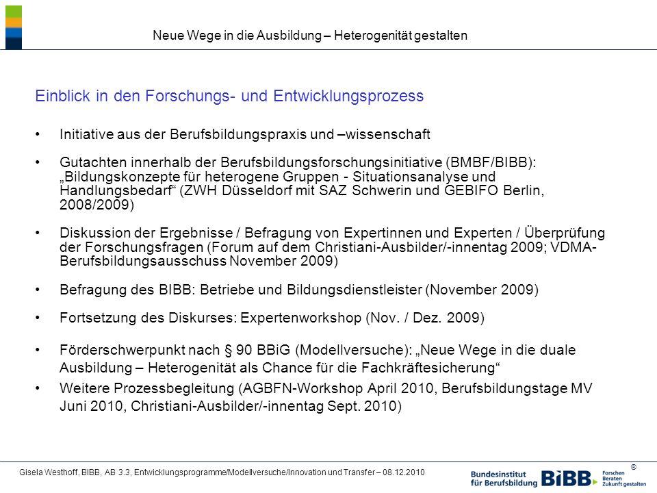 ® Neue Wege in die Ausbildung – Heterogenität gestalten Gisela Westhoff, BIBB, AB 3.3, Entwicklungsprogramme/Modellversuche/Innovation und Transfer – 08.12.2010 Ausgewählte empirische Ergebnisse