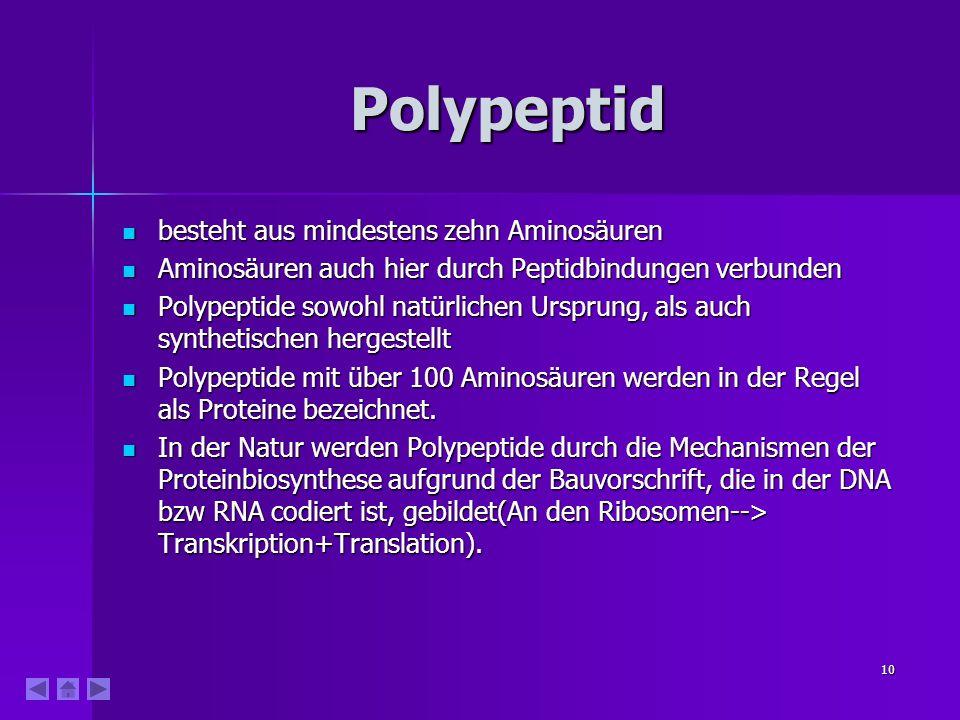 10 Polypeptid besteht aus mindestens zehn Aminosäuren besteht aus mindestens zehn Aminosäuren Aminosäuren auch hier durch Peptidbindungen verbunden Aminosäuren auch hier durch Peptidbindungen verbunden Polypeptide sowohl natürlichen Ursprung, als auch synthetischen hergestellt Polypeptide sowohl natürlichen Ursprung, als auch synthetischen hergestellt Polypeptide mit über 100 Aminosäuren werden in der Regel als Proteine bezeichnet.