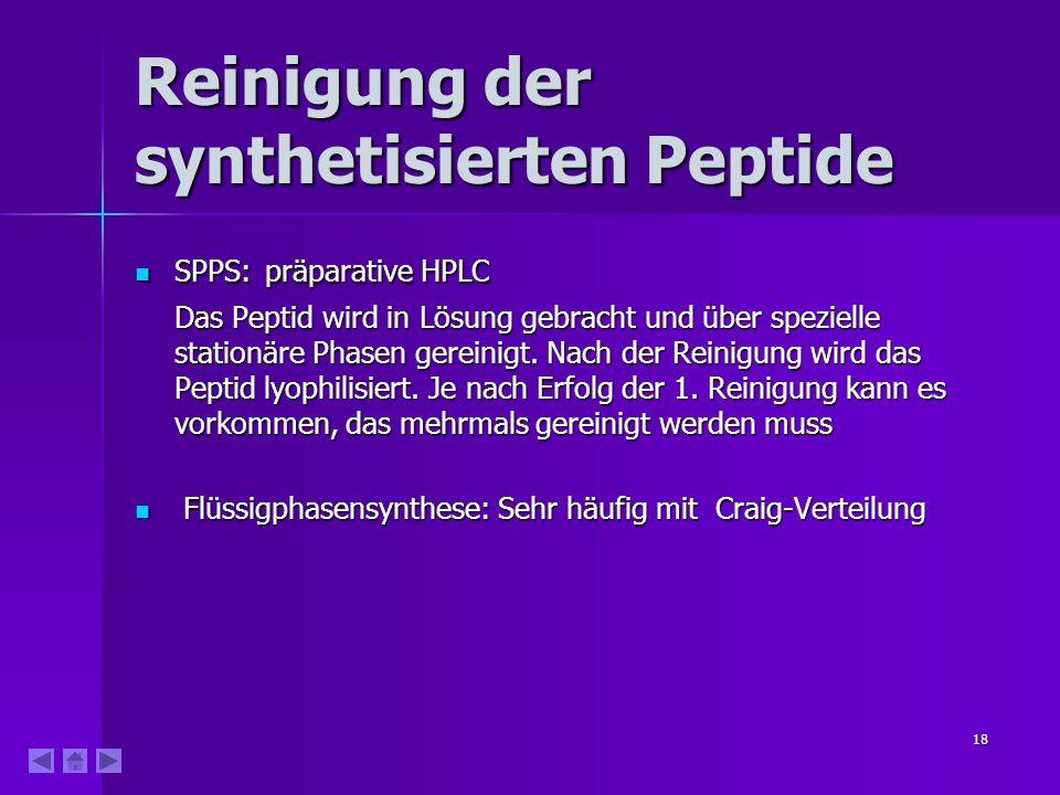 18 Reinigung der synthetisierten Peptide SPPS: präparative HPLC SPPS: präparative HPLC Das Peptid wird in Lösung gebracht und über spezielle stationäre Phasen gereinigt.