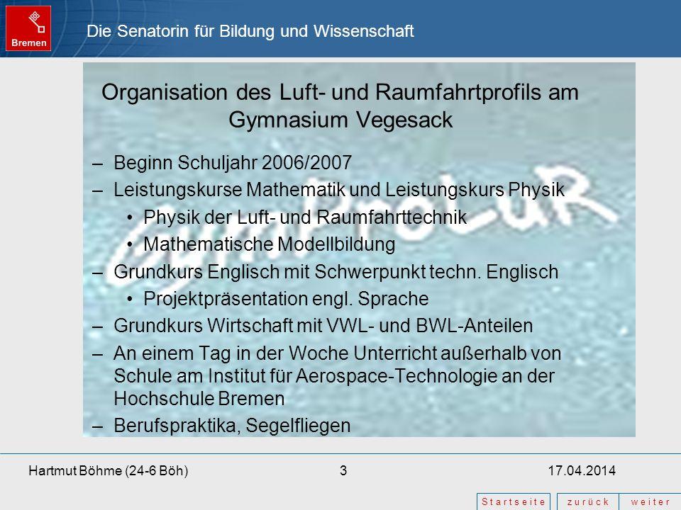 Die Senatorin für Bildung und Wissenschaft z u r ü c kw e i t e r S t a r t s e i t e 17.04.20143Hartmut Böhme (24-6 Böh) Organisation des Luft- und R
