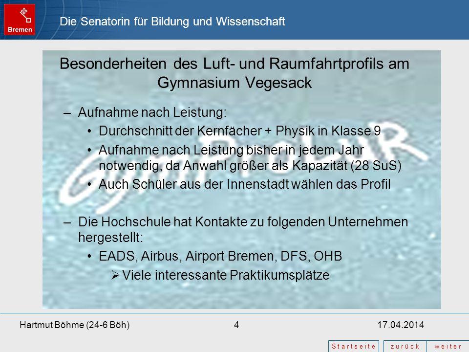Die Senatorin für Bildung und Wissenschaft z u r ü c kw e i t e r S t a r t s e i t e 17.04.20144Hartmut Böhme (24-6 Böh) Besonderheiten des Luft- und