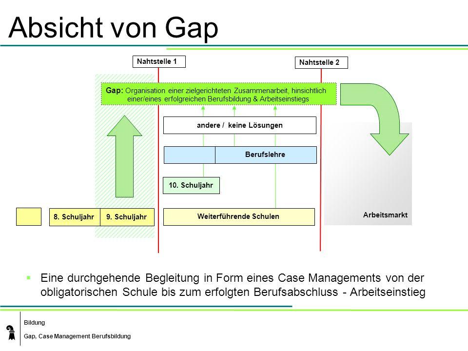 Bildung Gap, Case Management Berufsbildung Absicht von Gap Eine durchgehende Begleitung in Form eines Case Managements von der obligatorischen Schule bis zum erfolgten Berufsabschluss - Arbeitseinstieg Arbeitsmarkt 8.