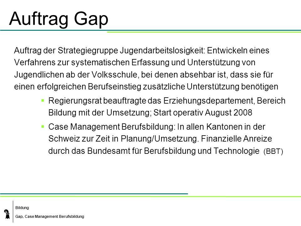 Bildung Gap, Case Management Berufsbildung Auftrag Gap Auftrag der Strategiegruppe Jugendarbeitslosigkeit: Entwickeln eines Verfahrens zur systematisc