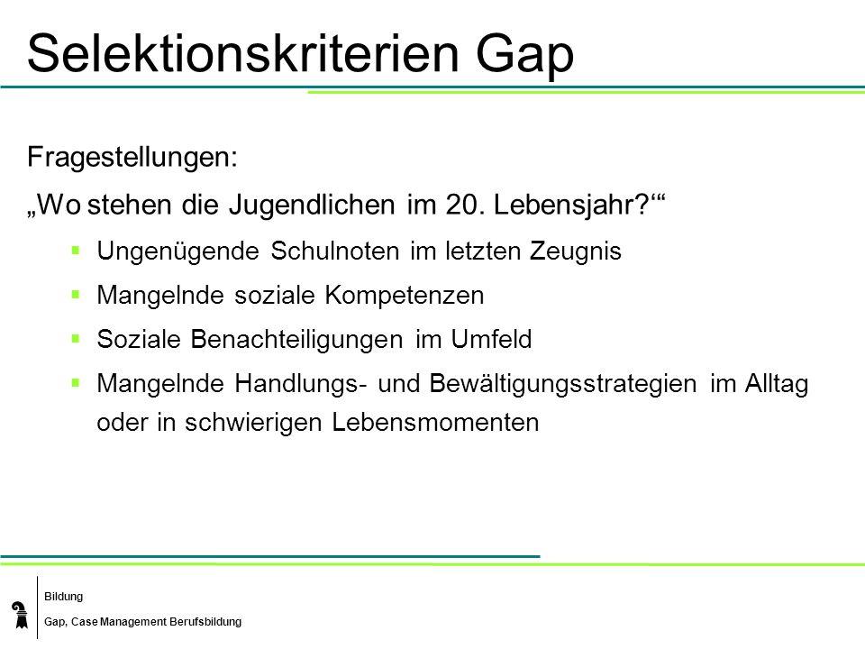 Bildung Gap, Case Management Berufsbildung Selektionskriterien Gap Fragestellungen: Wo stehen die Jugendlichen im 20. Lebensjahr? Ungenügende Schulnot