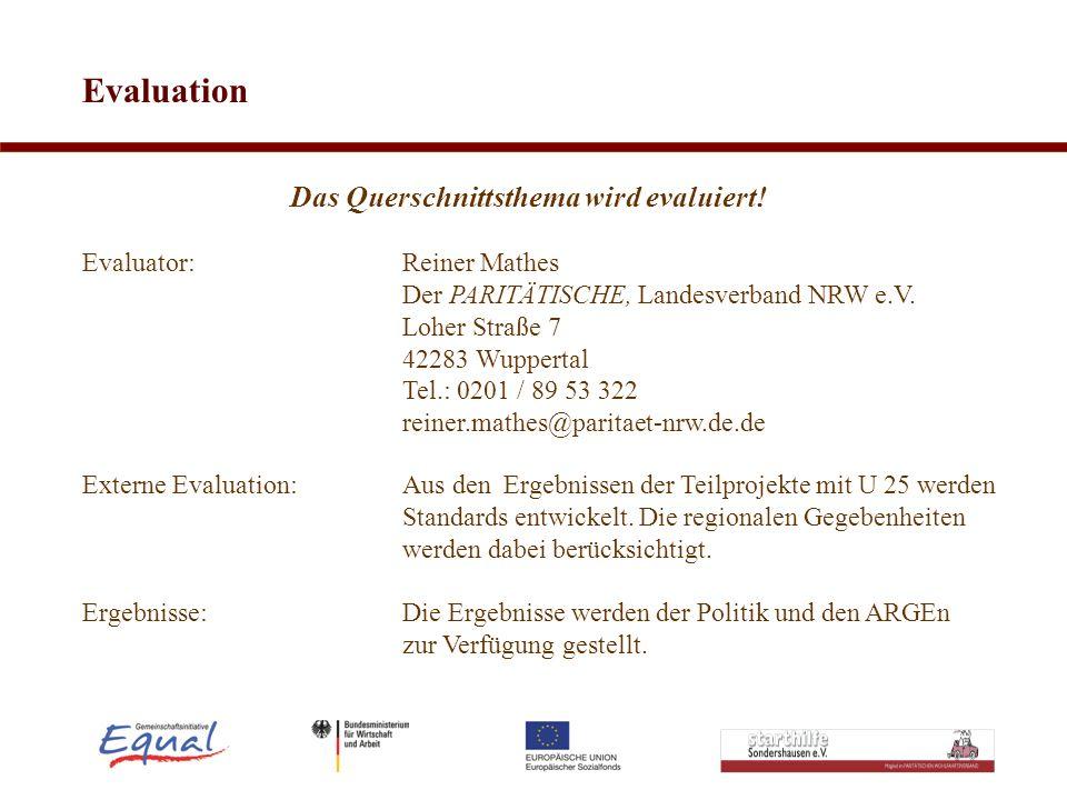 Evaluation Das Querschnittsthema wird evaluiert! Evaluator: Reiner Mathes Der PARITÄTISCHE, Landesverband NRW e.V. Loher Straße 7 42283 Wuppertal Tel.