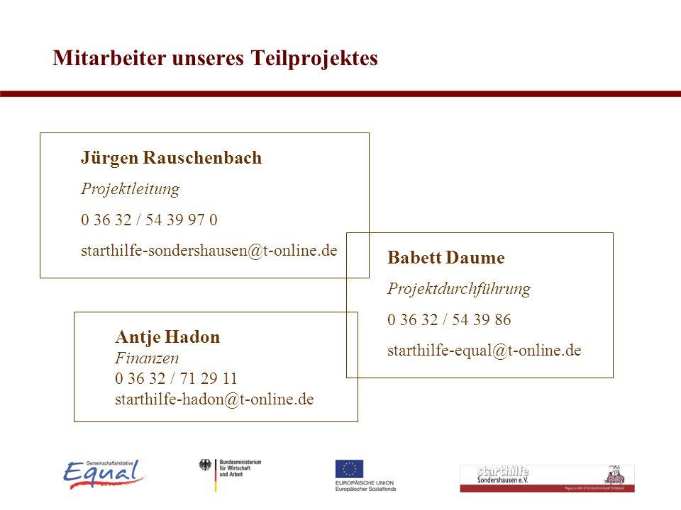 Mitarbeiter unseres Teilprojektes Antje Hadon Finanzen 0 36 32 / 71 29 11 starthilfe-hadon@t-online.de Jürgen Rauschenbach Projektleitung 0 36 32 / 54