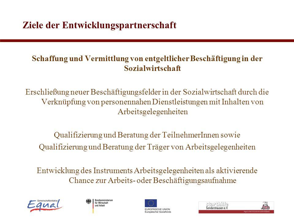 Ziele der Entwicklungspartnerschaft Schaffung und Vermittlung von entgeltlicher Beschäftigung in der Sozialwirtschaft Erschließung neuer Beschäftigung