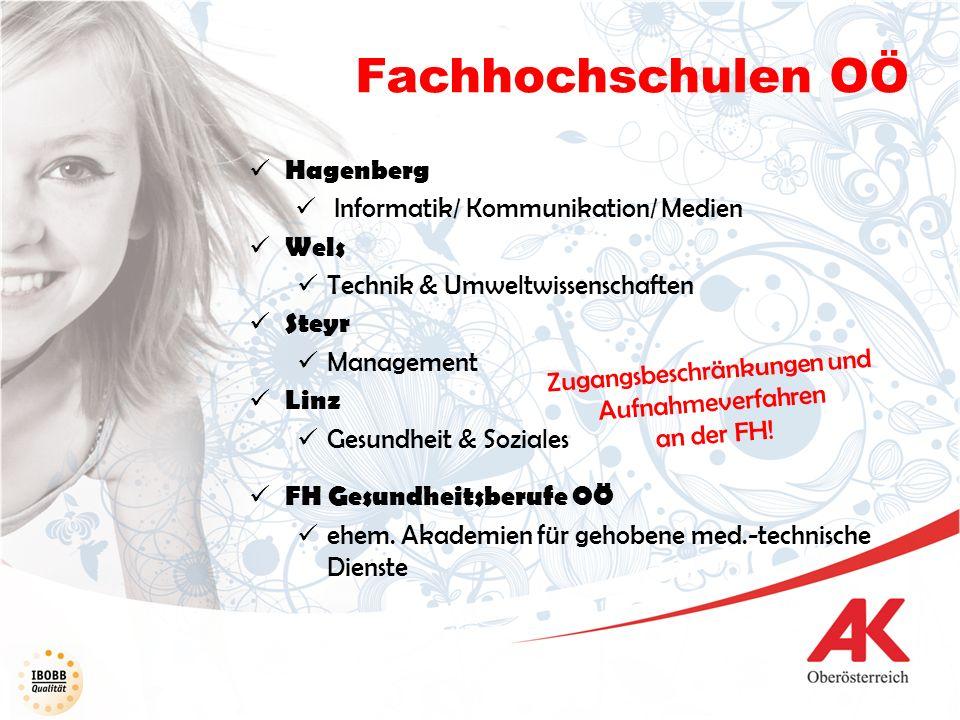 Fachhochschulen OÖ Hagenberg Informatik/ Kommunikation/ Medien Wels Technik & Umweltwissenschaften Steyr Management Linz Gesundheit & Soziales FH Gesu